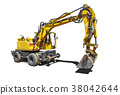 Yellow Bulldozer with shadow isolated on white 38042644