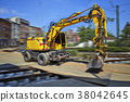 Yellow Bulldozer in movement on construction site 38042645