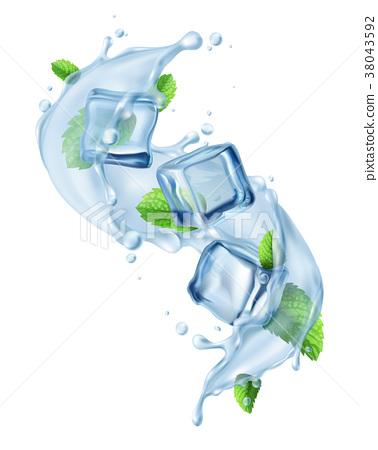 Ice Cube Water Splash  38043592