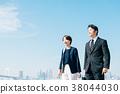 สูทธุรกิจชายกลางและหญิงสีฟ้า 38044030