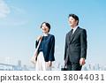 สูทธุรกิจชายกลางและหญิงสีฟ้า 38044031