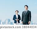 สูทธุรกิจชายกลางและหญิงสีฟ้า 38044034