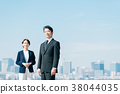 สูทธุรกิจชายกลางและหญิงสีฟ้า 38044035