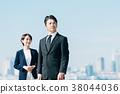 สูทธุรกิจชายกลางและหญิงสีฟ้า 38044036