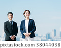 สูทธุรกิจชายกลางและหญิงสีฟ้า 38044038