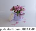 3D Rendering pink tulips in a gift box fallen petals 38044581