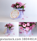 3D Rendering three picture of pink tulips combination on white background 38044614