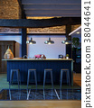 3D Rendering empty bar counter no people evening front view 38044641