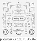 Set of linear thin line geometric shape retro 38045362