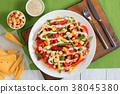 cheese, sausages, asparagus, corn pepper salad 38045380