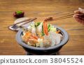 ishikari hotpot, chankonabe, food cooked in a pot 38045524