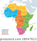 Africa regions map with single countries 38047623