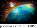 abstract space background with earth and moon 38048051