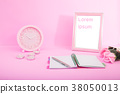 lovely valentine concept, clock time and notepad. 38050013