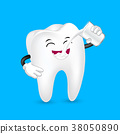 Cute cartoon tooth character drinking milk.  38050890
