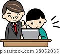Teacher and boy learning on tablet 38052035
