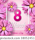 8 March. Happy Womens Day Floral Greeting card 38052451
