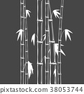 Stems of bamboo in sketch style on dark background 38053744