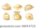 Realistic vector clipart of different dumplings 38054725