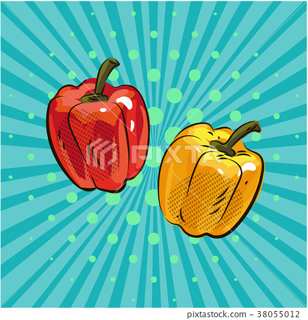 Pepper paprika pop art comic style hand drawn 38055012