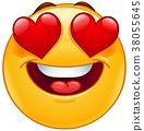 Smiling emoticon face with heart eyes 38055645