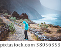 Tourist in hoodie in Aranhas valley hiking from 38056353