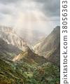 Mysterious sunrays shining on mountain peaks in Xo 38056363