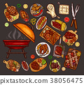 Set of illustrations, elements for barbecue 38056475
