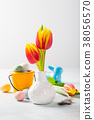 Easter composition with spring tulips 38056570