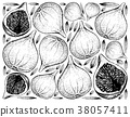 Hand Drawn Background of Fresh Fig Fruits 38057411
