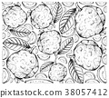 Hand Drawn Background of Fresh Guava Fruits 38057412