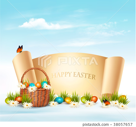 Happy Easter background. Eggs in a basket. Vector. 38057657