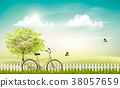 Spring nature meadow landscape with a bicycle 38057659