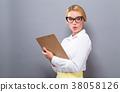 woman clipboard document 38058126