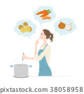 Illustration where a young woman is cooking 38058958