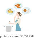 一名年輕女子正在做飯的插圖 38058958