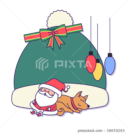 Christmas banner illustration. Vector banners with Santa Claus and gold puppy isolated on white. 035 38059263