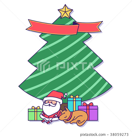 Christmas banner illustration. Vector banners with Santa Claus and gold puppy isolated on white. 017 38059273