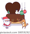 Christmas banner illustration. Vector banners with Santa Claus and gold puppy isolated on white. 025 38059292