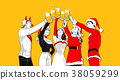 Christmas party concept with group of friends vector illustration 003 38059299