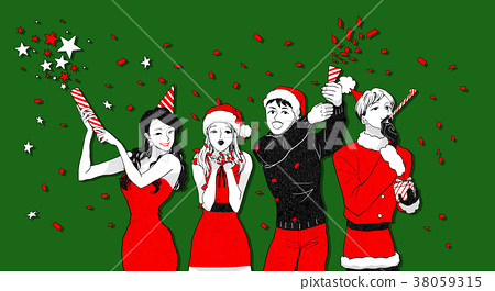 Christmas party concept with group of friends vector illustration 005 38059315