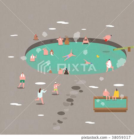 Illustration- People enjoying various outdoor activities. 007 38059317