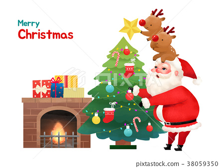 Present Delivery Santa Claus concept Vector Illustration, Christmas and New Year Banner. 007 38059350