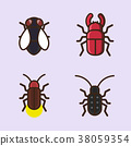 Vector- flat icon set. concept for honey bee, flowers, gift set, traditional food and so on. 035 38059354