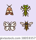 Vector- flat icon set. concept for honey bee, flowers, gift set, traditional food and so on. 036 38059357