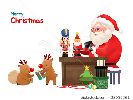 Present Delivery Santa Claus concept Vector Illustration, Christmas and New Year Banner. 006 38059361