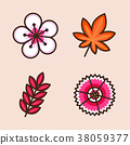 Vector- flat icon set. concept for honey bee, flowers, gift set, traditional food and so on. 016 38059377
