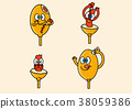 cartoon illustration, set of snack food theme 002 38059386