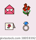Vector- flat icon set. concept for honey bee, flowers, gift set, traditional food and so on.063 38059392