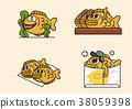 cartoon illustration, set of snack food theme 006 38059398